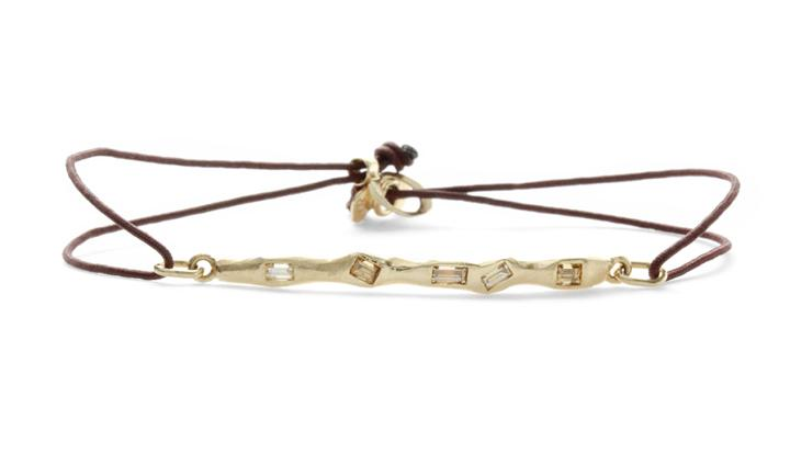 Scattered Baguette Runway Bracelet on Cord