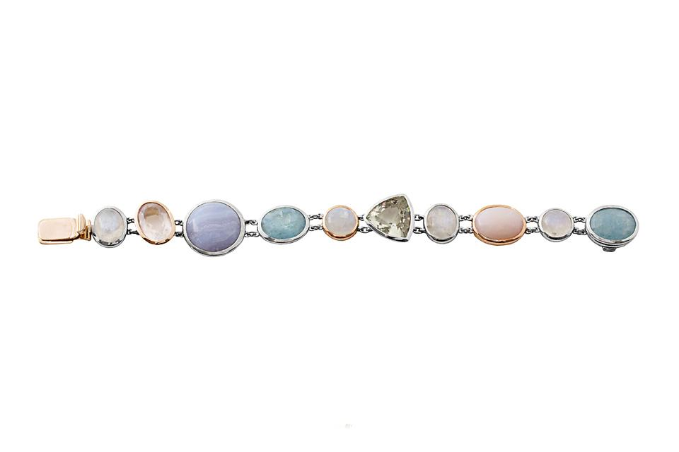 9ct Rose Gold and Silver Bracelet with Aquamarine, Moonstone, Pink Opal, Prassiolite, Rose Quartz and Lace Agate