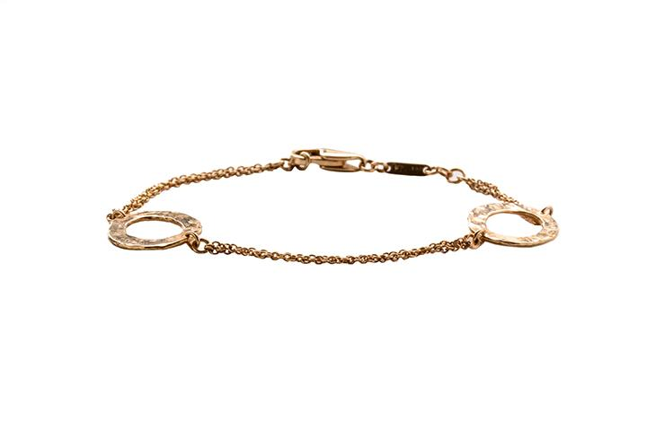 9ct Rose Gold Beaten Disc Bracelet
