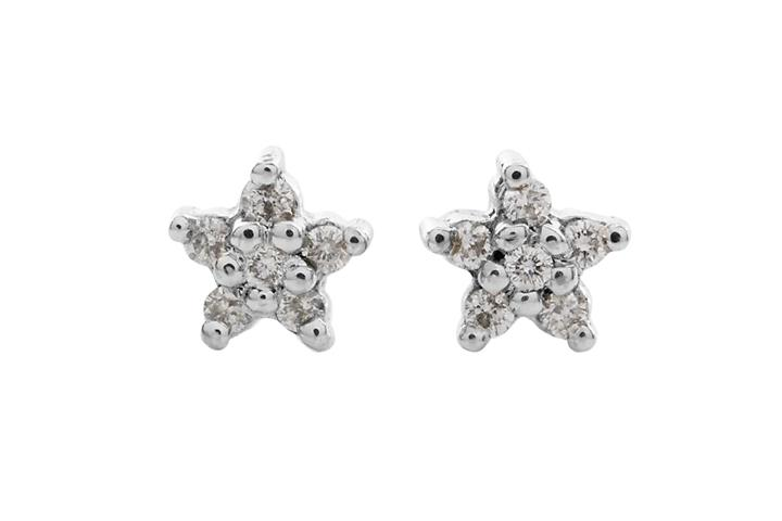 18ct White Gold and Diamond Star Stud Earrings