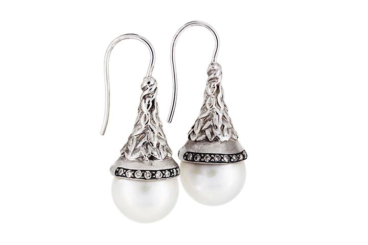 9ct White Gold, Diamond and Pearl Drop Earrings with Carved Organic Leaf Detail