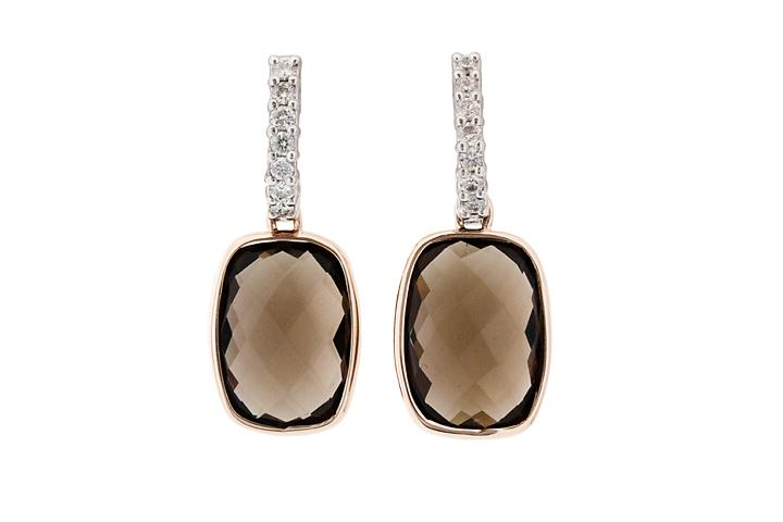 18ct White and Rose Gold, Smoky Quartz and Diamond Drop Earrings