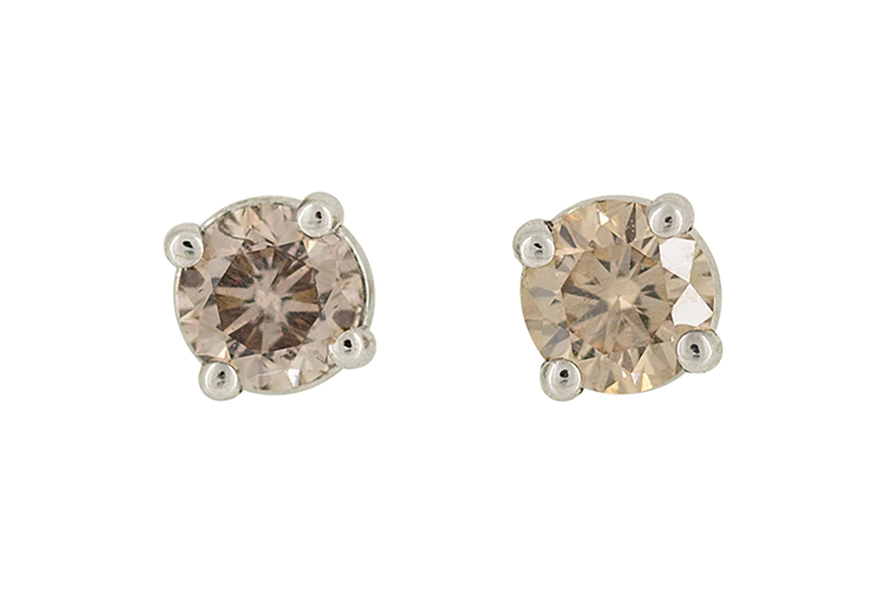 9ct White Gold and Champagne Diamond Studs
