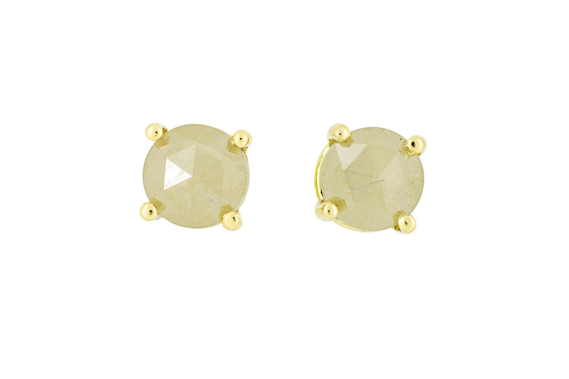 18ct Yellow Gold and Yellow / Greyish Diamond Studs