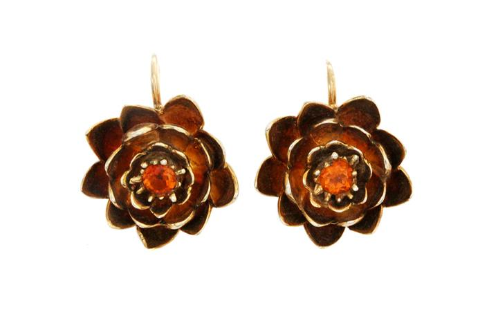 Yellow Gold Gilded Silver Water Lily Earrings with Citrine Gemstones