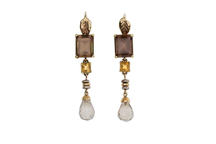 18ct and 9ct Yellow Gold and Silver, Smoky Quartz and Citrine, Daydream Dangle Earrings