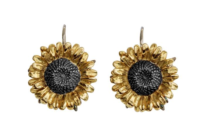 18ct Yellow gold & Silver sunflower hook earrings