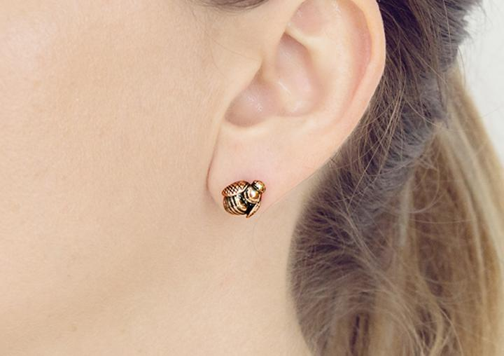 Rose Gold African Honey Bee earrings