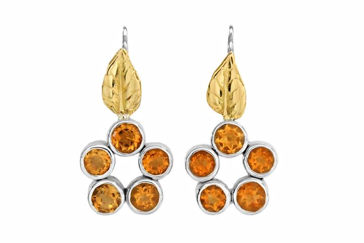 Silver & 18ct Yellow gold Citrine leaf detail earrings
