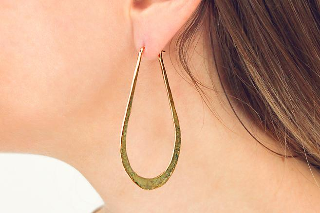 9ct Yellow Gold Beaten Texture Teardrop Shape Hoop Earrings - 50% OFF!
