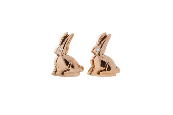 9ct Rose gold Riverine Rabbit studs with Diamond eye
