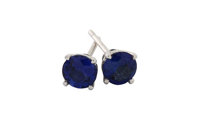 18ct White Gold and Ceylon Blue Sapphire Stud Earrings