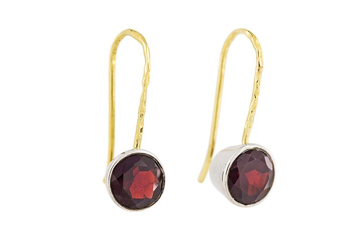 18ct Yellow Gold, Silver and Garnet Earrings