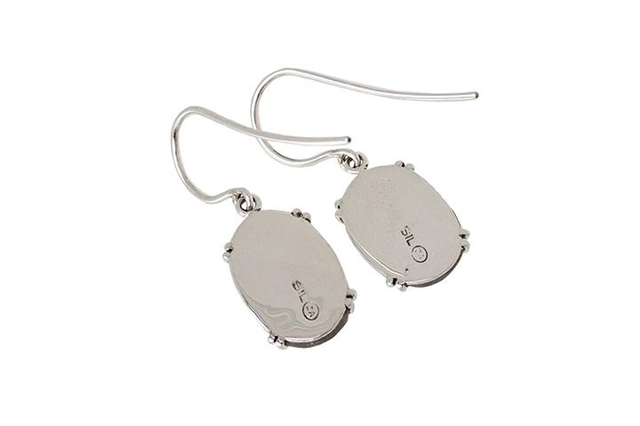 Silver and Oval Grey Moonstone Earrings