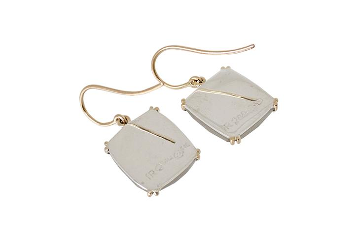 9ct Yellow Gold and Silver, Grey Moonstone Earrings