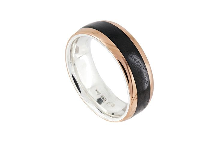 Silver and 9ct Rose Gold Gents Ring with Blackwood Inlay