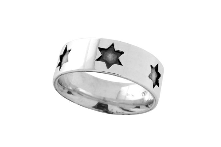 Silver Star of David Gents Ring