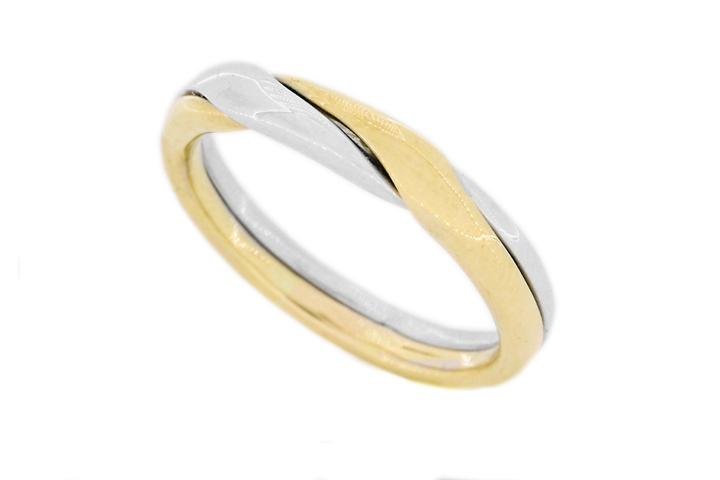 Silver & Yellow gold 2 piece puzzle ring