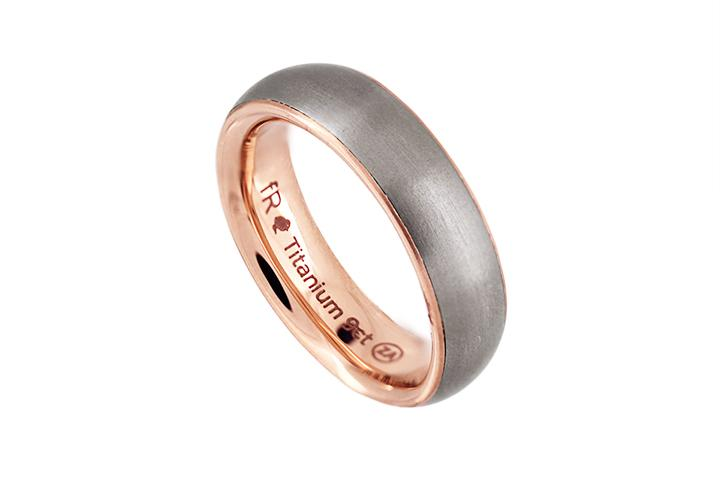 Titanium & 9ct Rose Gold D-shaped Ring