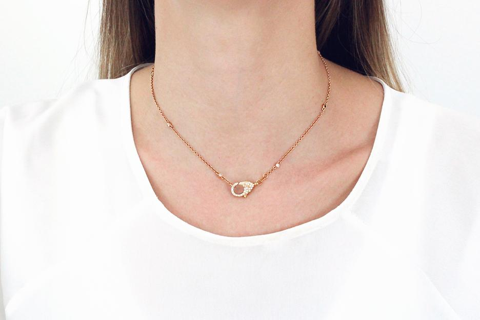 18ct Rose Gold Diamond Clasp Necklace - 50% OFF!