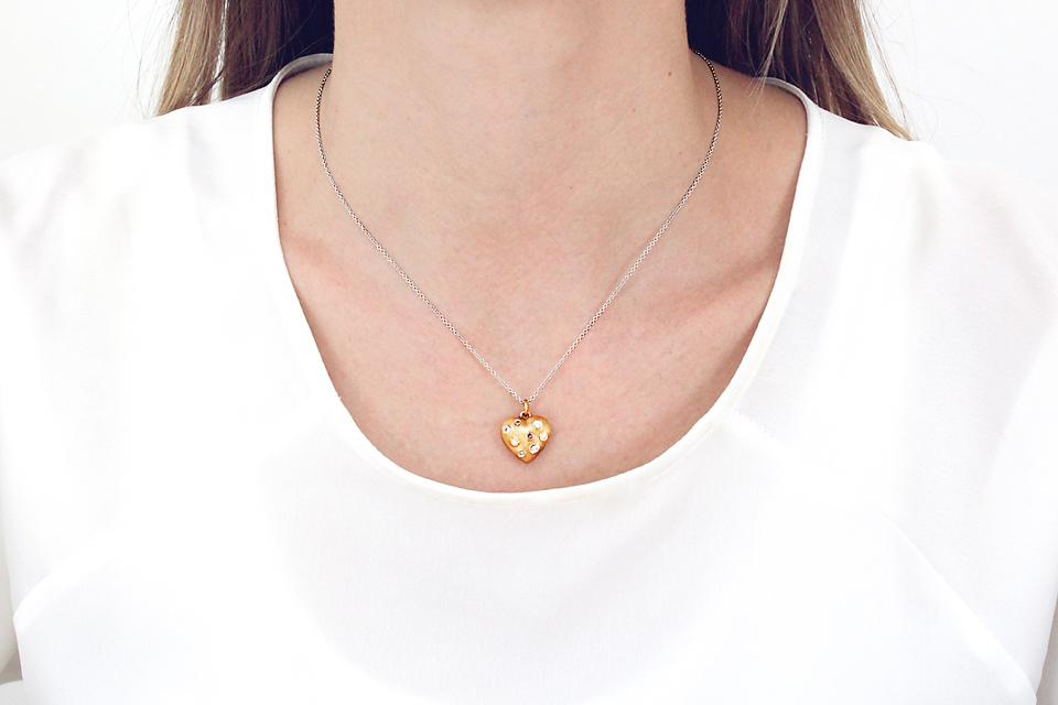 18ct Rose Gold Puffy Heart Diamond Pendant - 50% OFF!