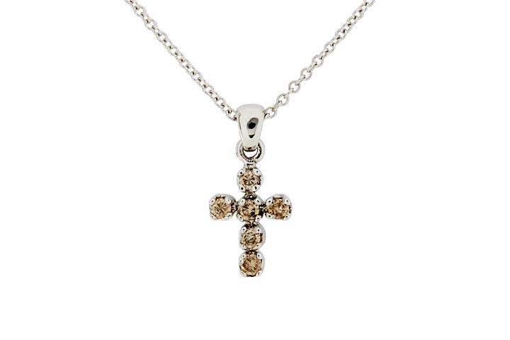 White Gold Cognac Diamond cross Pendant