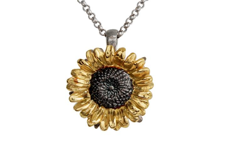 18ct Yellow Gold & Silver Sunflower Pendant