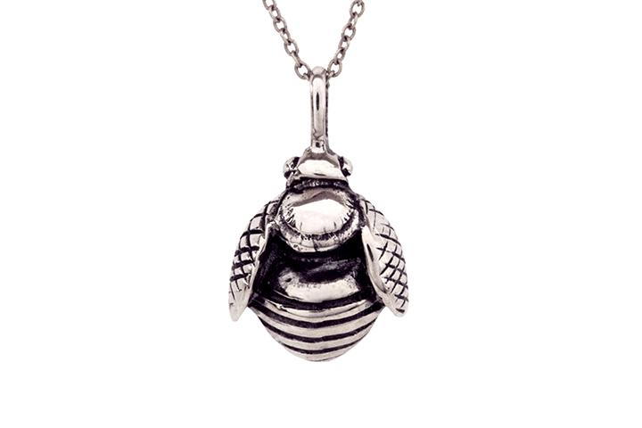African Honey Bee Pendant in oxidised Sterling Silver