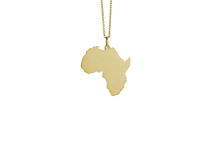9ct Yellow gold solid Africa pendant (sml)
