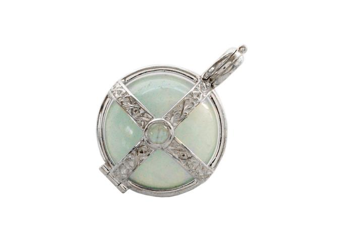Silver Celtic Caged Ball Pendant with Hemimorphite and Moonstone