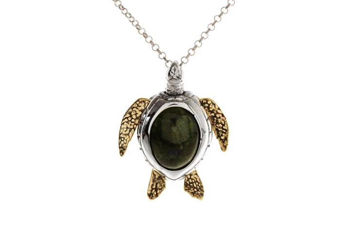 Silver & Yellow gold Diopside turtle pendant
