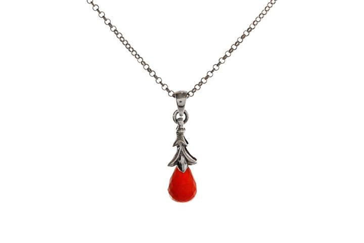 Silver and Carnelian Briolette Pendant - 50% OFF!