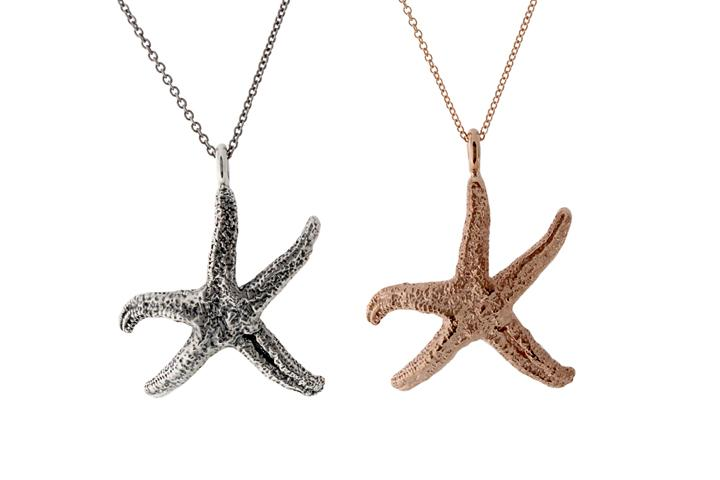 Silver Rose Gold Gilded Starfish Pendant