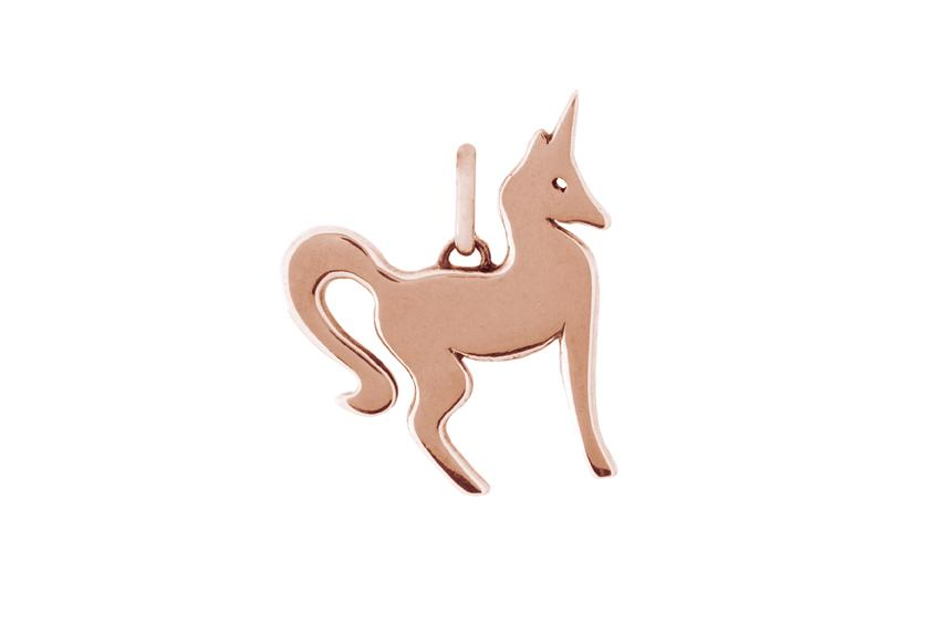 9ct Rose Gold Foxy Unicorn Pendant
