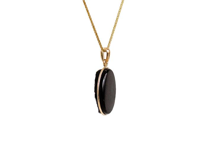 9ct Yellow Gold Black Druzi Crystal Pendant