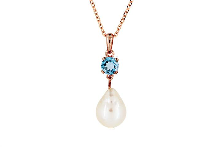 9ct Rose Gold, Blue Topaz and Pearl Pendant