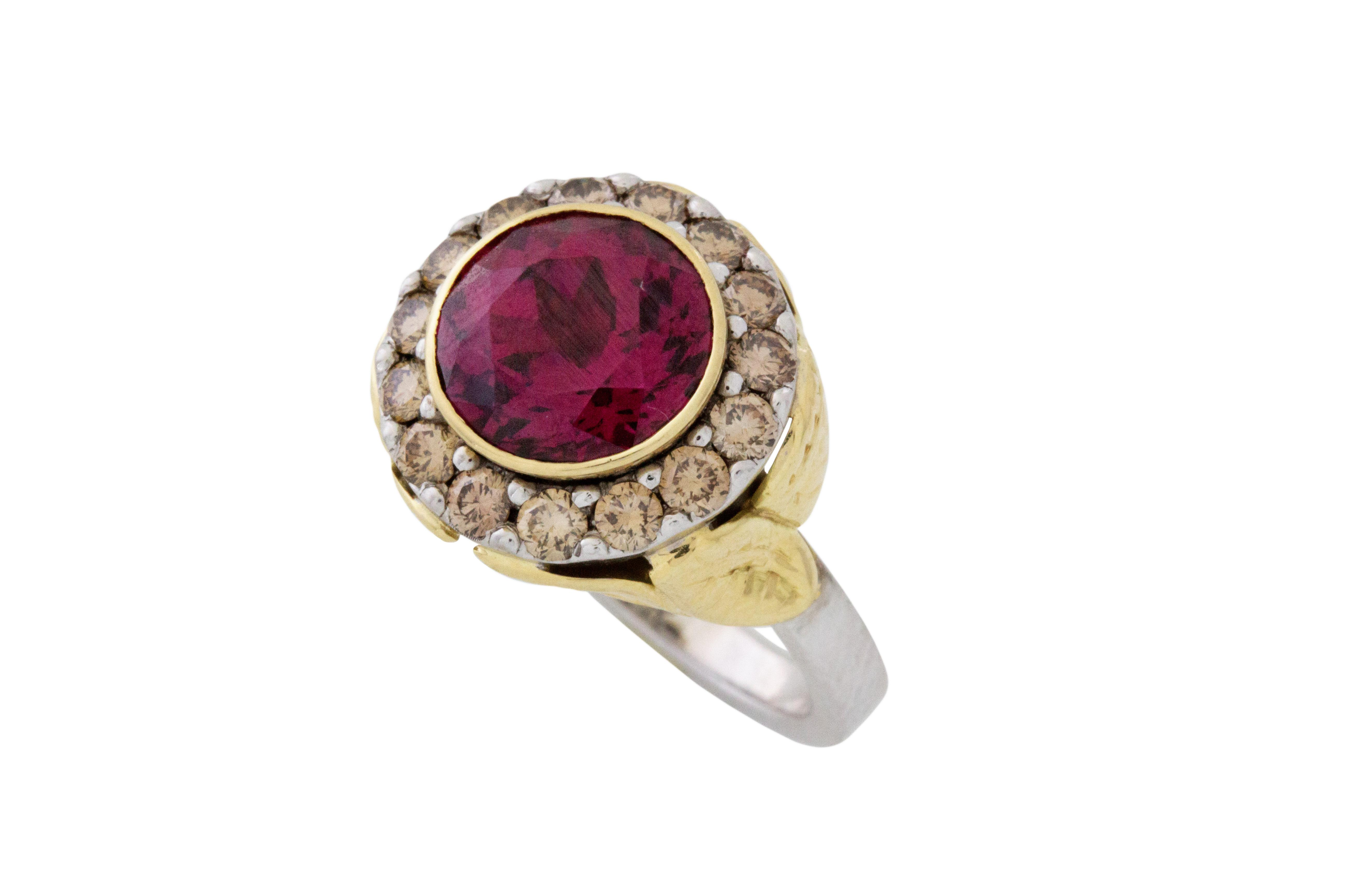 18ct White & Yellow Gold Rhodolite Garnet & Cognac Diamond Ring - 50% OFF!