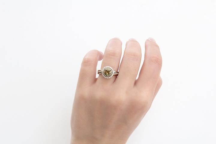18ct White Gold and Fancy Brown Diamond Ring