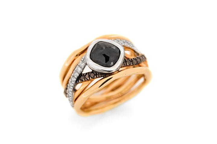 18ct Rose gold black Polki cut diamond ring