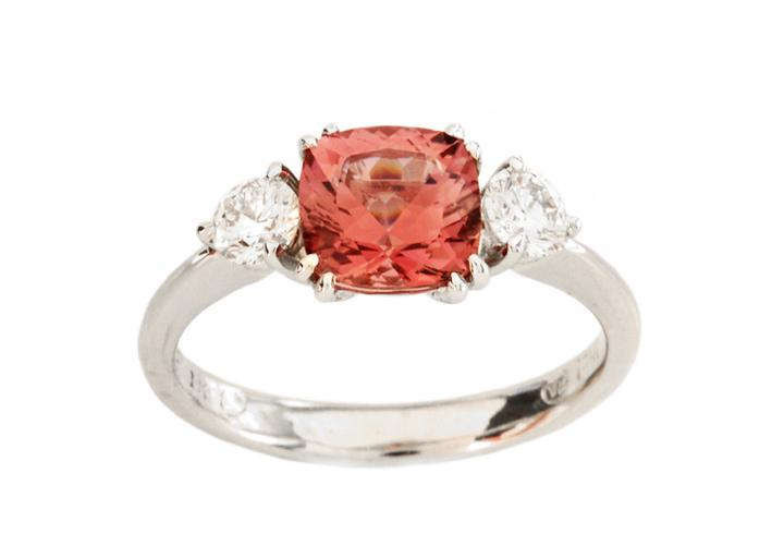 18ct White Gold, Pink Tourmaline and Diamond Engagement Ring