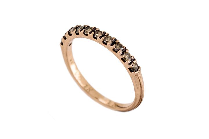9ct Rose Gold and Cognac Diamond Half Eternity Ring