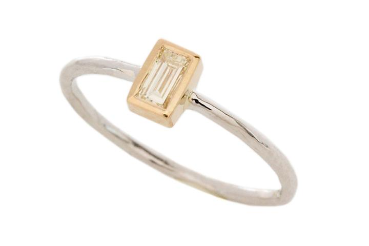 18ct Yellow and 9ct White Gold, Baguette Diamond Ring