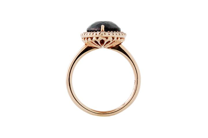 18ct Rose Gold, Black and White Diamond Ring