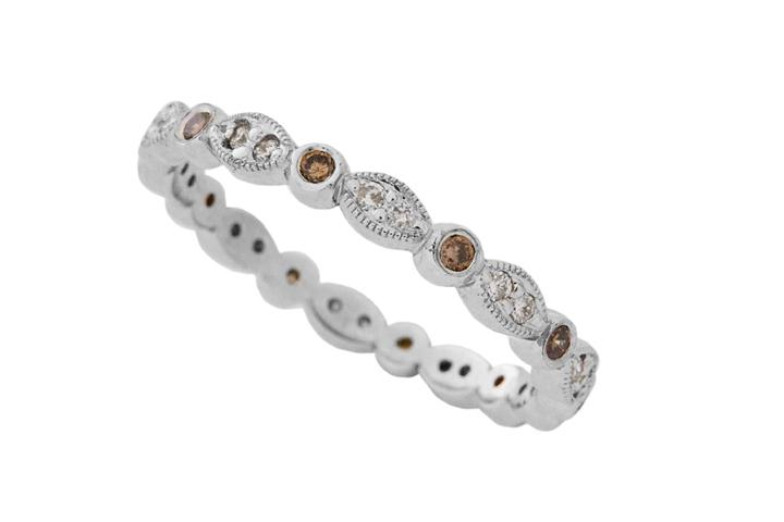 9ct White Gold Vintage Style Eternity Ring with White and Brown Diamonds
