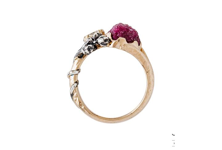 18ct Rose and White Gold, Diamond and Ruby Ring