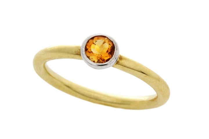 18ct Yellow Gold and Silver, Citrine Stacking Ring