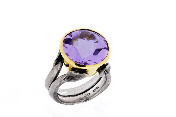 Silver & 18ct Yellow gold Amethyst Leaf detail ring