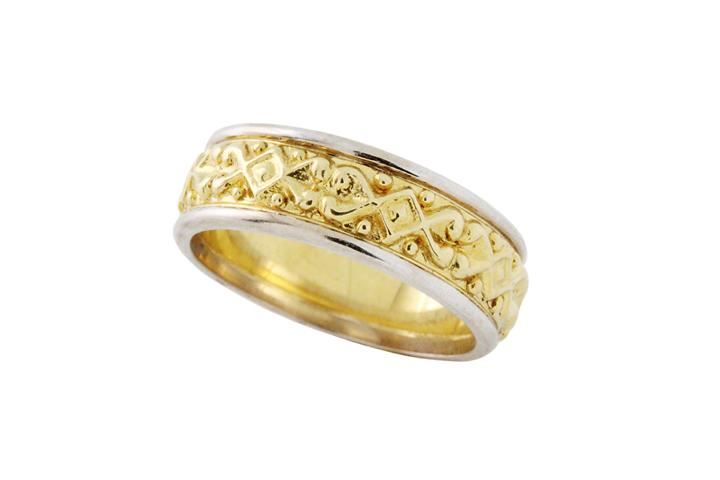 White & Yellow Gold Celtic Ring