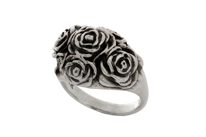 Silver multi rose ring