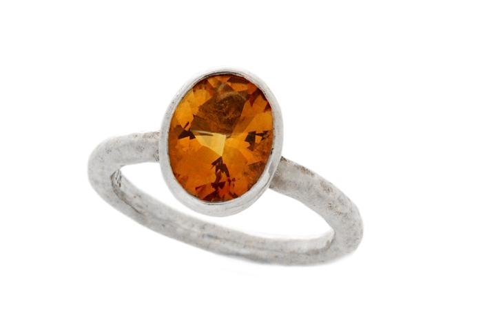 Silver Citrine Oval cup ring